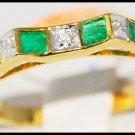 Gemstone Diamond Wedding Emerald Ring 18K Yellow Gold [R0045]