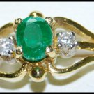 Emerald Solitaire Wedding Diamond Ring 18K Yellow Gold [RS0168]