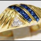 14K Yellow Gold Unique Gemstone Diamond Blue Sapphire Ring [RR069]