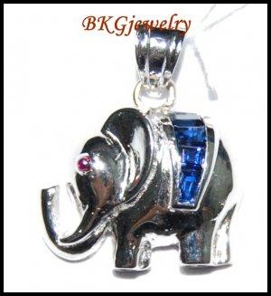 18K White Gold Elephant Pendant Blue Sapphire Gemstone [P0145]
