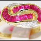 14K Yellow Gold Genuine Gemstone Diamond Ruby Ring [RR029]