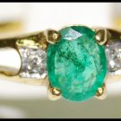 Wedding Solitaire Emerald 18K Yellow Gold Diamond Ring [RS0107]