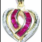 14K Yellow Gold Ruby Heart Gemstone Pendant Diamond [P_160]