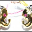 14K Yellow Gold Gemstone Jewelry Stud Elephant Earrings Ruby [E_109]