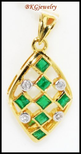 Diamond 18K Yellow Gold Natural Gemstone Emerald Pendant [P0081]