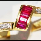 18K Yellow Gold Natural Diamond and Ruby Ring [R0024]