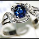 Diamond Jewelry Solitaire Blue Sapphire 18K White Gold Ring [R0010]