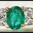 Wedding 18K Yellow Gold Diamond Solitaire Emerald Ring [RS0142]