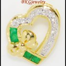 Emerald Heart Pendant Genuine Diamond 18K Yellow Gold [P0105]
