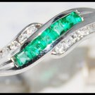 Diamond 18K White Gold Genuine Gemstone Emerald Ring [R0050]
