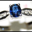Solitaire 18K White Gold Diamond Unique Blue Sapphire Ring [R0129]