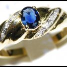 Diamond Natural Blue Sapphire 18K Yellow Gold Solitaire Ring [RS0111]