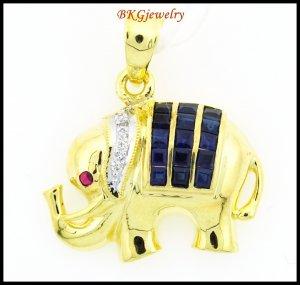Elephant Pendant Diamond Blue Sapphire 18K Yellow Gold [P0013]