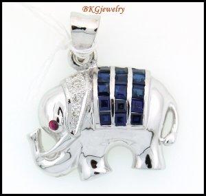 18K White Gold Elephant Pendant Diamond Blue Sapphire [P0012]