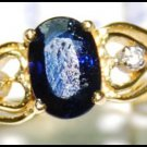 Solitaire Diamond Natural Blue Sapphire 18K Yellow Gold Ring [RS0033]