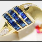 14K Yellow Gold Gemstone Diamond Eternity Blue Sapphire Ring [RR015]