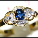 Diamond Blue Sapphire Solitaire Ring Genuine 18K Yellow Gold [RS0109]