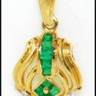 18K Yellow Gold Emerald Diamond Eternity Pendant Jewelry [P0101]