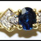 Solitaire 18K Yellow Gold Diamond Oval Blue Sapphire Ring [RS0188]