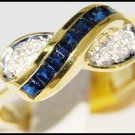 Diamond Unique Blue Sapphire Gemstone 14K Yellow Gold Ring [RR020]