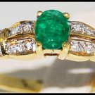 Wedding Solitaire Diamond 18K Yellow Gold Emerald Ring [R0101]