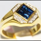 Gemstone Diamond Unique Blue Sapphire Ring 14K Yellow Gold [RR043]