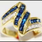 Wedding Diamond Gemstone 14K Yellow Gold Blue Sapphire Ring [RR024]