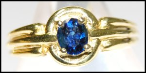 Oval Blue Sapphire Gemstone 18K Yellow Gold Solitaire Ring [RS0056]
