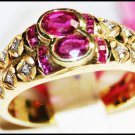 Unique 14K Yellow Gold Diamond Gemstone Ruby Ring [RR006]