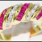 Gemstone Diamond Natural 14K Yellow Gold Ruby Ring [RR038]