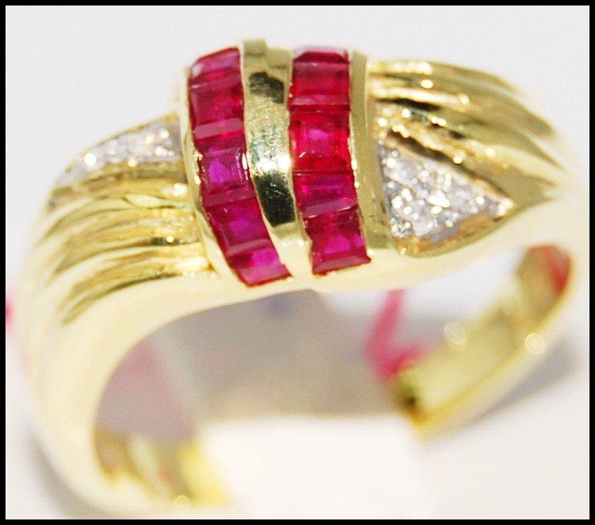Gemstone Promise Diamond 14K Yellow Gold Ruby Ring [RR026]