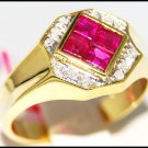 Promise Gemstone Diamond 14K Yellow Gold Ruby Ring [RR044]