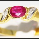 Natural Diamond 18K Yellow Gold Ruby Solitaire Ring [R0114]