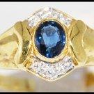 Genuine Blue Sapphire Diamond 18K Yellow Gold Solitaire Ring [R0116]