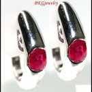 Clip-On 14K White Gold Gemstone Natural Ruby Earrings [E_103]