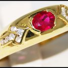 Jewelry 14K Yellow Gold Solitaire Ruby Diamond Ring [RR067]