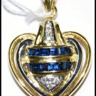18K Yellow Gold Blue Sapphire Heart Pendant Eternity Diamond [P0104]