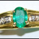 Diamond Natural 18K Yellow Gold Emerald Solitaire Ring [RS0207]