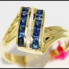 14K Yellow Gold Eternity Diamond Gemstone Blue Sapphire Ring [RR018]