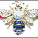 Genuine Blue Sapphire Diamond Bee Brooch/Pin 14K Yellow Gold [I_026]