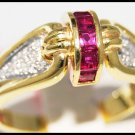 14K Yellow Gold Promise Diamond Gemstone Ruby Ring [RR065]