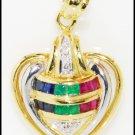 Diamond Multi Gemstone Heart Pendant Jewelry 18K Yellow Gold [P0103]