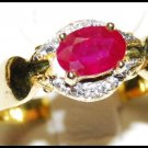 Diamond Ruby Solitaire Eternity 18K Yellow Gold Ring [RS0129]
