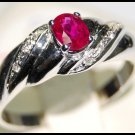 18K White Gold Twist Design Diamond and Ruby Ring [RS0111]