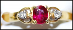 Diamond 18K Yellow Gold Solitaire Ruby Ring Wedding [RS0191]