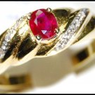 18K Yellow Gold Diamond Ruby Eternity Solitaire Ring [RS0111]