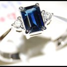 Emerald Cut Blue Sapphire and Diamond 18K White Gold Ring [R0124]