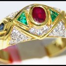 Genuine Diamond Multi Gemstone Ring 14K Yellow Gold [RR066]