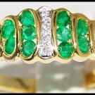 Genuine 18K Yellow Gold Gemstone Diamond Emerald Ring [R0084]