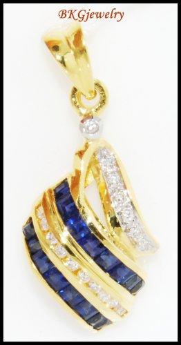 18K Yellow Gold Natural Diamond Blue Sapphire Pendant [P0080]